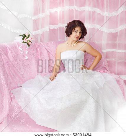 Portrait of beautiful  brunette bride