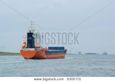 Orange Container Ship Rotterdam Port