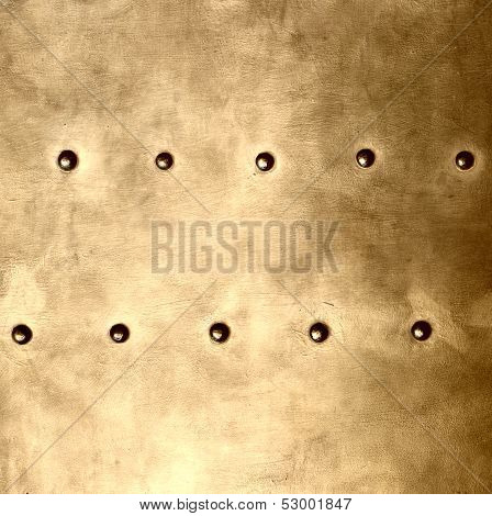 Gold Metal Plate Or Armour Texture With Rivets