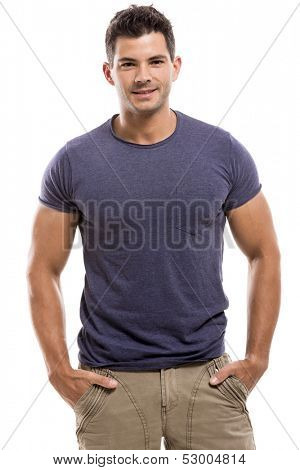Portrait of a handsome latin man, isolated over a white background