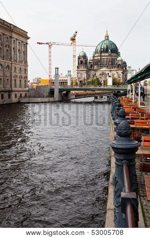 Spree River Waterfront And Berliner Dom In Berlin