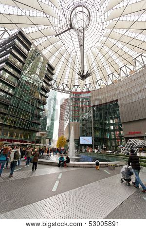 Tourists In Sony Center On Potsdam Square, Berlin