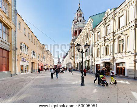 Renovated Nikolskaya Street In Moscow