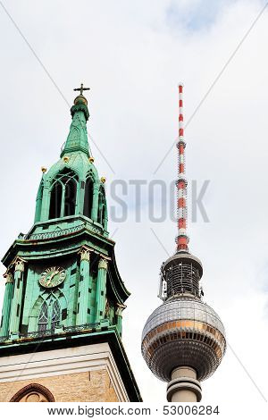 Fernsehturm Tv Tower And St. Marys Church