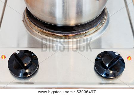 Pot On Hotplate Electric Stove