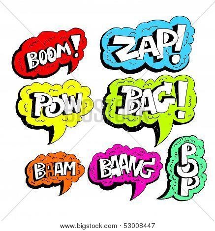 Cartoon text explosions comic bubble