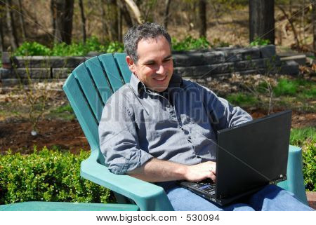 Man Computer Outside