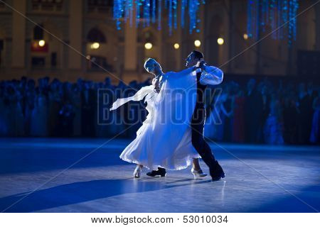 MOSCOW - MAY 25: Beautiful couple at 11th Viennese Ball in Gostiny Dvor on May 25, 2013 in Moscow, Russia.