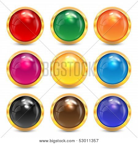 Set Multicolored Glass Buttons In A Gold Frame.colorful Buttons For Websites.vector