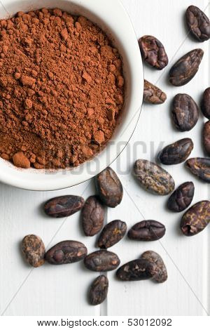 top view of cocoa powder and cocoa beans