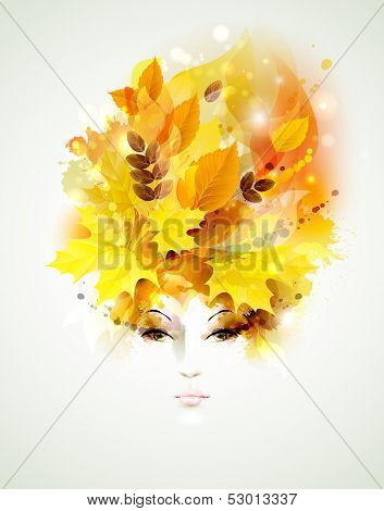 Beautiful autumn women with abstract hair and design elements