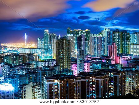 Downtown cityscape in Hong Kong at night