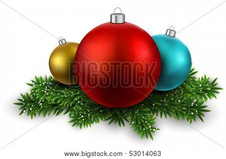 Colorful balls on green christmas tree branches with snow. Vector illustration.