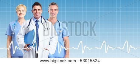 Group of medical doctors over blue health care background