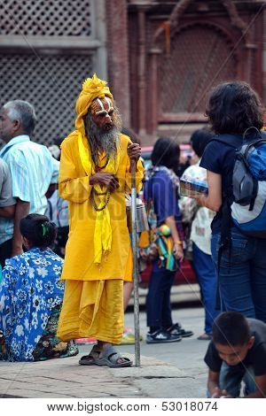 Holy sadhu Hindu man with painted face in Kathmandu