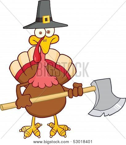 Turkey Character With Pilgrim Hat And Axe