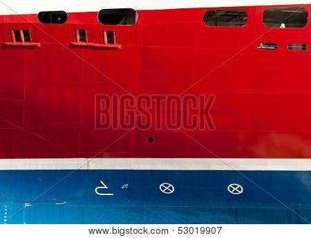 Texture Of The Cruise Ship Hull With Waterline, Draft Scale Numbering Bulb And Maneuvering Propulsio