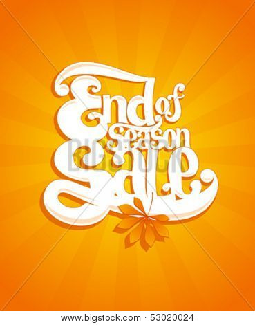 End of autumn season sale typographic vector illustration.