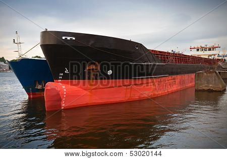 Bulbous Bow Design Of Moored Trader Ship. Russia, Saint-petersburg, Neva River, Leytenanta Shmidta E