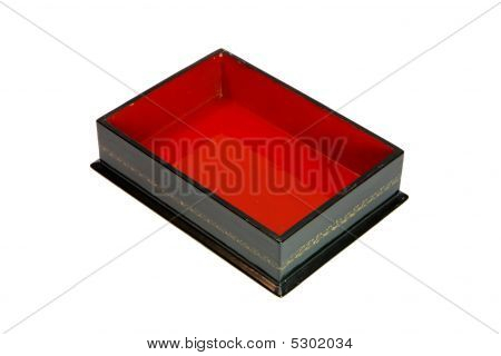 Open Empty Wooden Casket With Red Lining Isolated