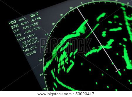 Closeup Fragment Of Ships Navigation Radar Screen