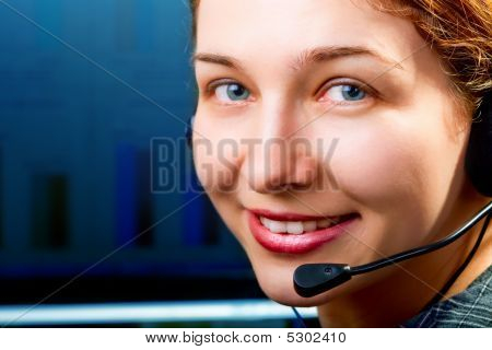 Customer Service - Friendly Cute Woman With Headphones