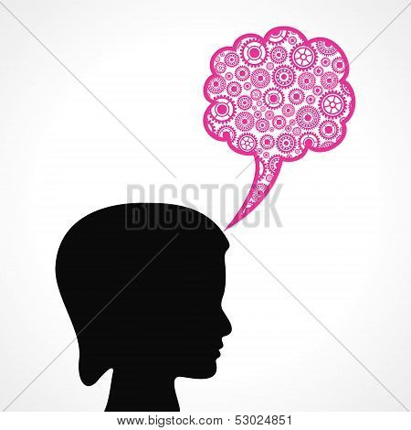 Group of gears make a speech bubble with female face stock vector