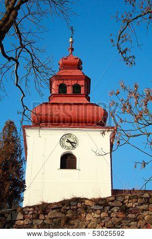 Catholic Church With Steeple Clock