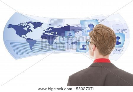 Young Man Looking With Virtual Glasses Isolated On White Background