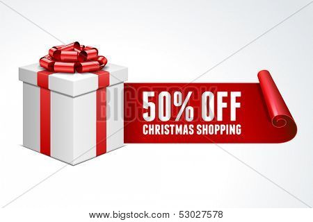 Open gift box with red bow isolated on white. Sale 50% off. Vector illustration eps 10.
