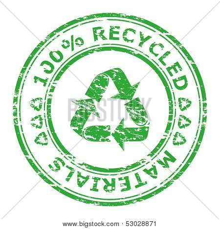 Vector Illustration Of 100% Recycled Materials Stamp Isolated On A White Background