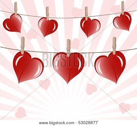 Vector Illustration Of The Hearts On Rope On Sunny Background.