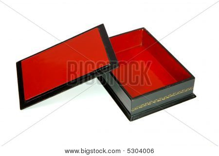 Open Empty Rectangular Casket With Red Lining And Lid Isolated