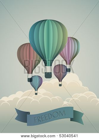 Hot air balloons, concept of freedom, eps10 vector