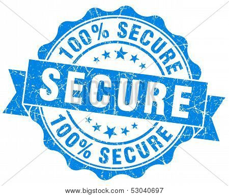 Secure Grunge Round Blue Seal