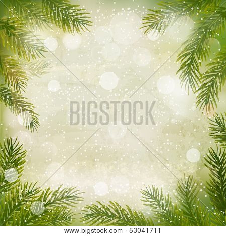 Christmas retro background with tree branches and snowflakes. Raster version of vector .