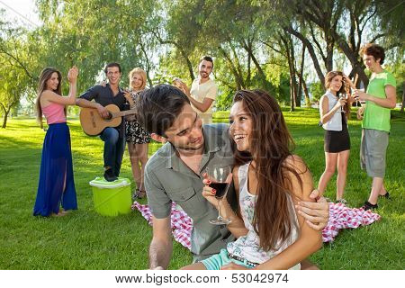 Couple Enjoying A Picnic With Friends