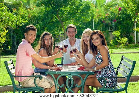 Smiling Teenagers Celebrating The Summer Vacation