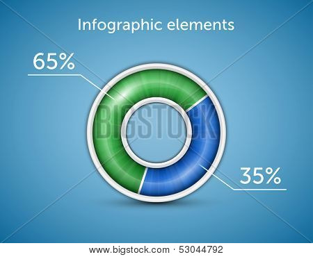 Infographic elements. Pie chart, round progress bar on blue background with blue-green indicator. Vector illustration