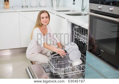 Smiling gorgeous model kneeling behind dish washer in bright kitchen