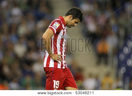 BARCELONA - OCT, 19: Diego Costa of Atletico Madrid during a Spanish League match againts RCD Espanyol at the Estadi Cornella on October 19, 2013 in Barcelona, Spain