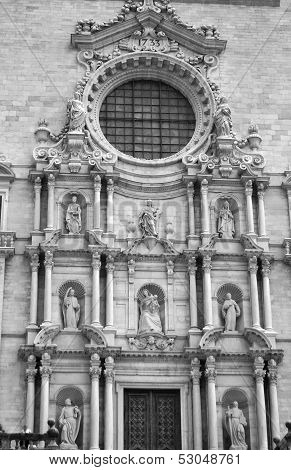 The Facade Of Cathedral In Girona.