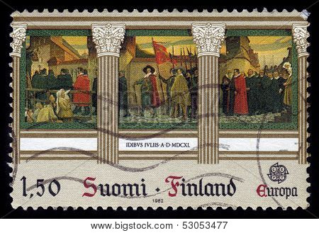 Fresco By Albert Edelfelt, Finland, old stamp