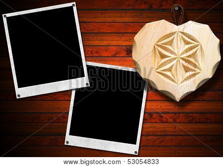 Instant Photo Frames On Brown Wooden Wall