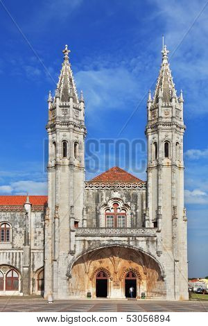 The main attraction of Lisbon - Jeronimos monastery on the bank of the River Tagus. Two slender towers topped by crosses