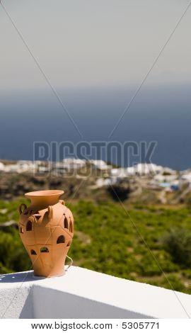 Ceramic Vase Santorini Mediterranean Sea View