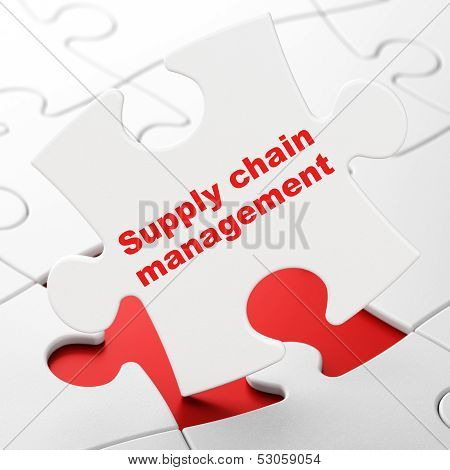 Advertising concept: Supply Chain Management on puzzle background