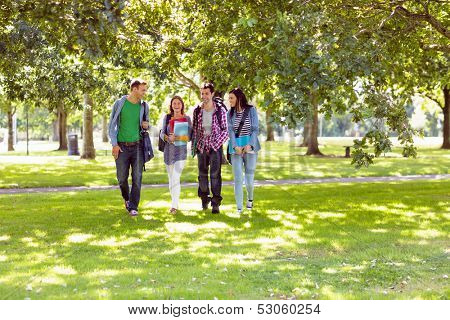 Full length of a group of young college students walking in the park