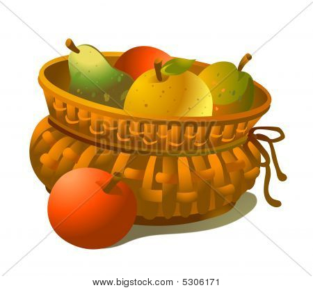 Wicker Basket Full Of Fruits