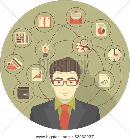 Modern Businessman Concept in Gray Circle